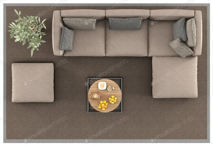 Top view of a modern sofa on carpet
