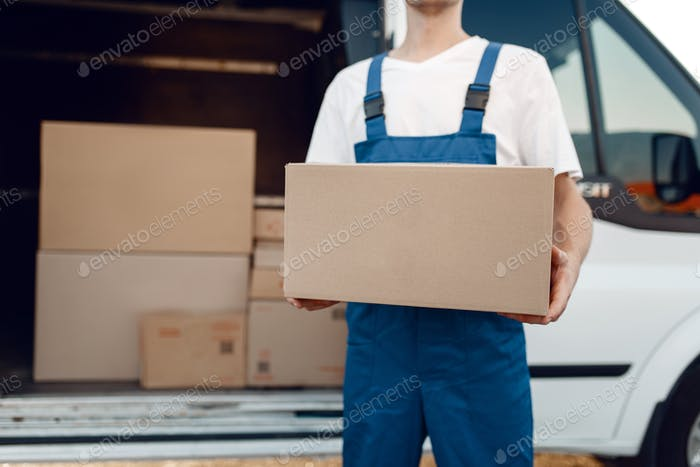 Deliveryman with carton box at the car, delivery