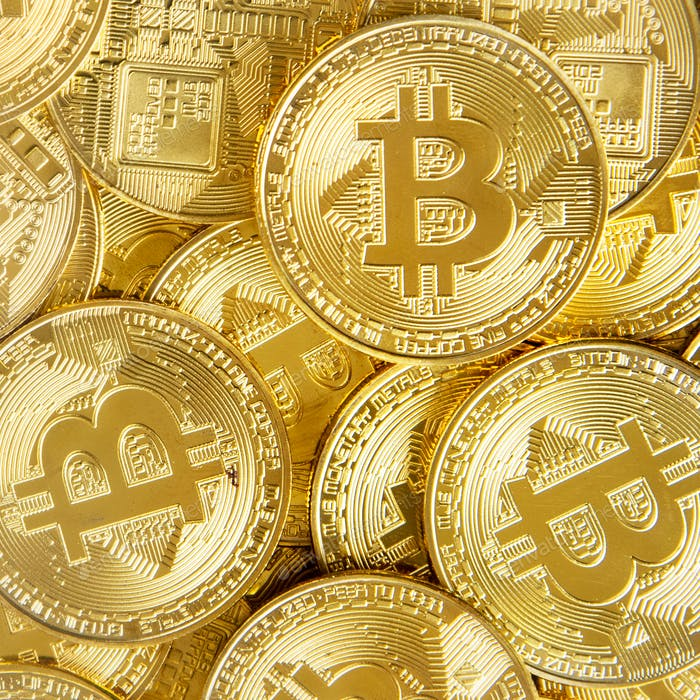 Pile of gold bitcoin money