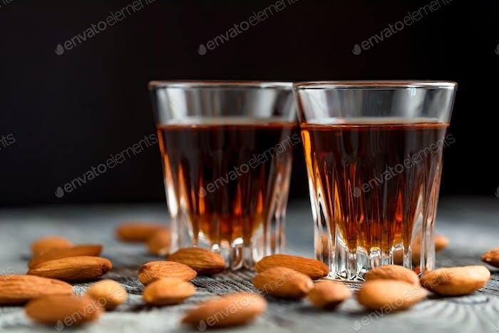 Italian amaretto liqueur with dry almonds