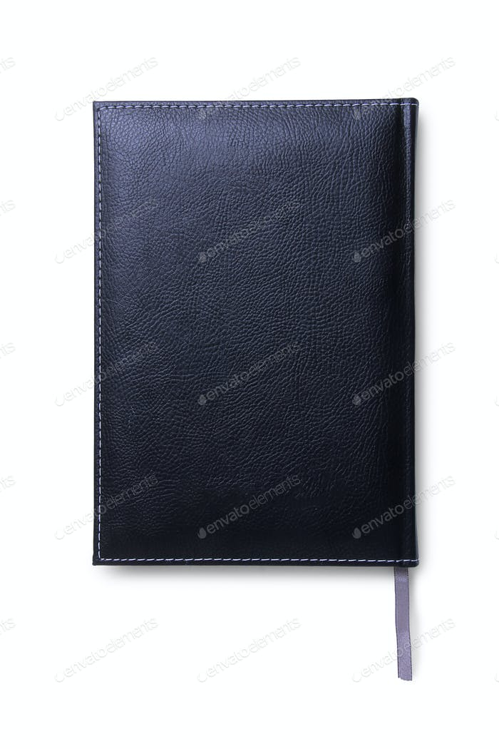 Black Leather Agenda Isolated top view