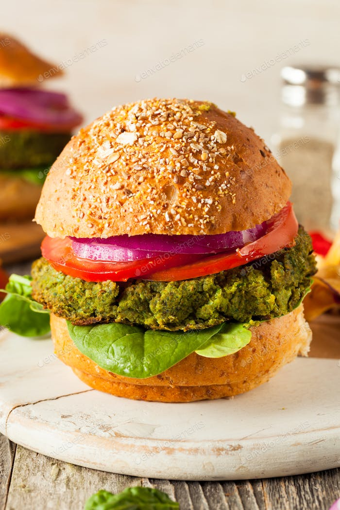 Homemade Green Vegan Burgers