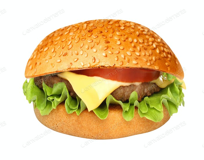 Perfect hamburger classic burger american cheeseburger isolated on white