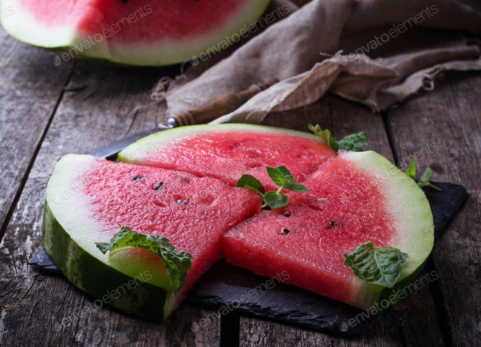 Sliced watermelon and mint