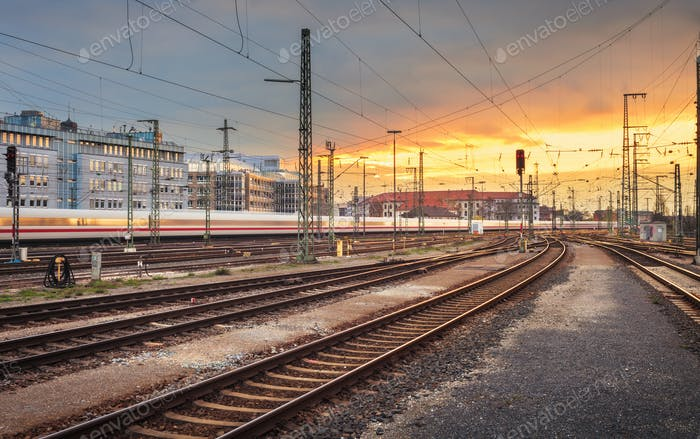 Industrial landscape. Railway Station in Nuremberg, Germany. Rai