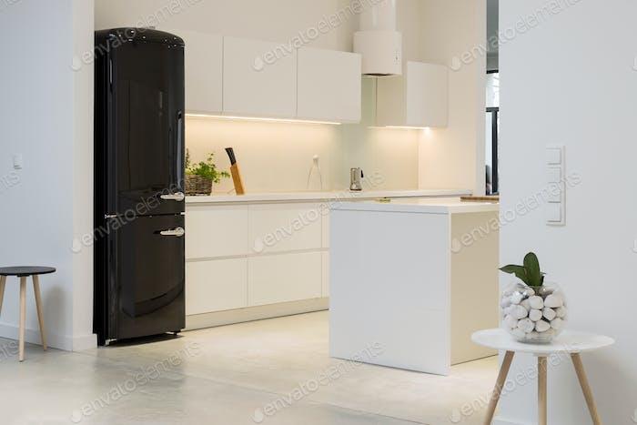 White kitchen with black fridge