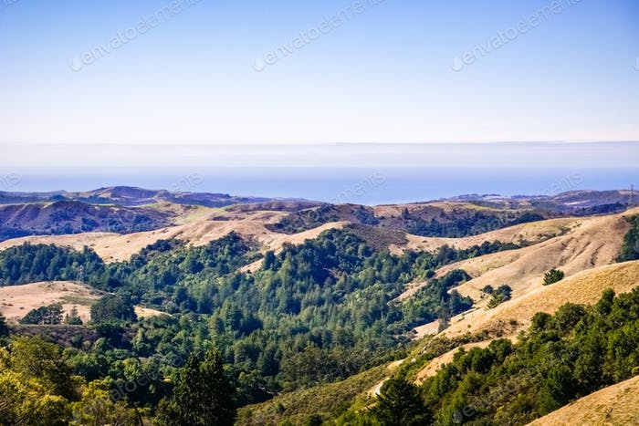 Santa Cruz mountains and the Pacific Ocean