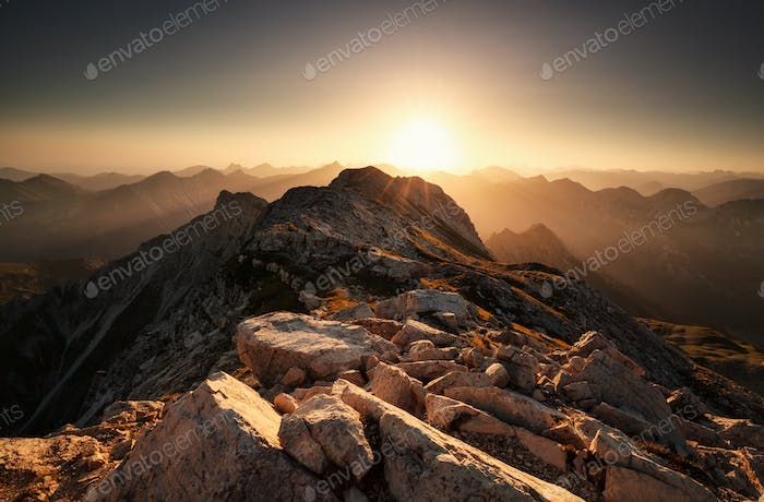 sunrise from mountain top Grosser Daumen