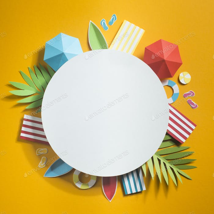Creative composition with white plate and beach subjects