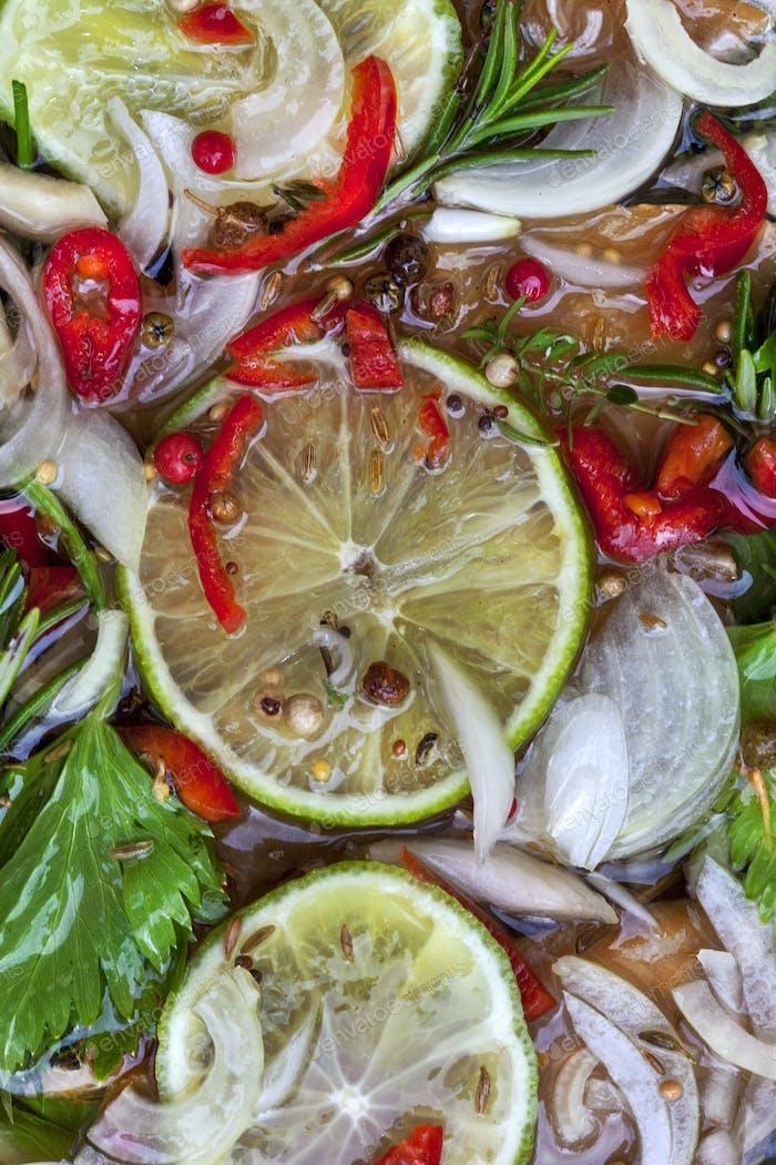 Herbs and lemon marinade