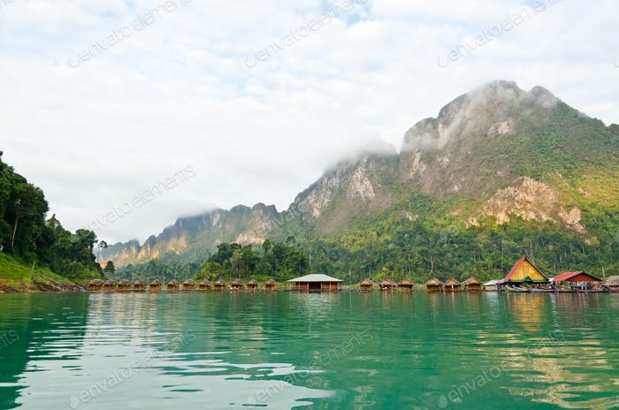 Lake and bamboo hut resort vintage country style