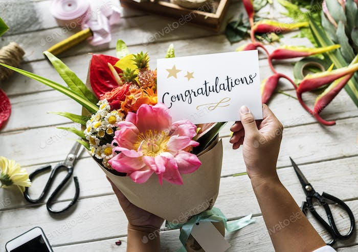 Congratulations card with flower bouquet photo by Rawpixel on Envato ...