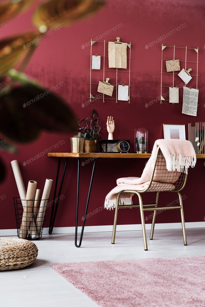 Feminine pink home office interior