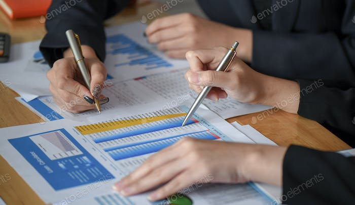Close-up shot of Accountants are reviewing company information.