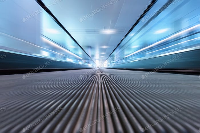 modern escalator motion blur