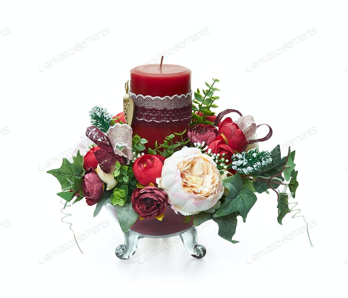 Christmas arrangement with white and red roses