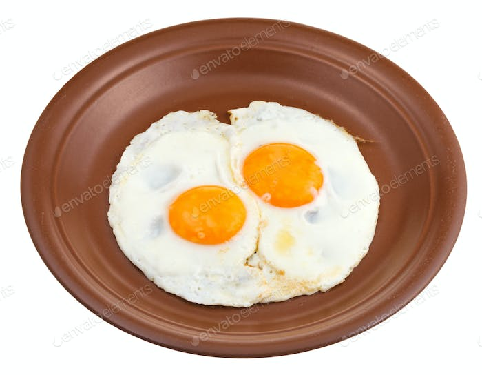 fried eggs on ceramic brown plate
