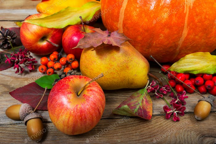 Thanksgiving background with apples, pear, fall leaves and acorn