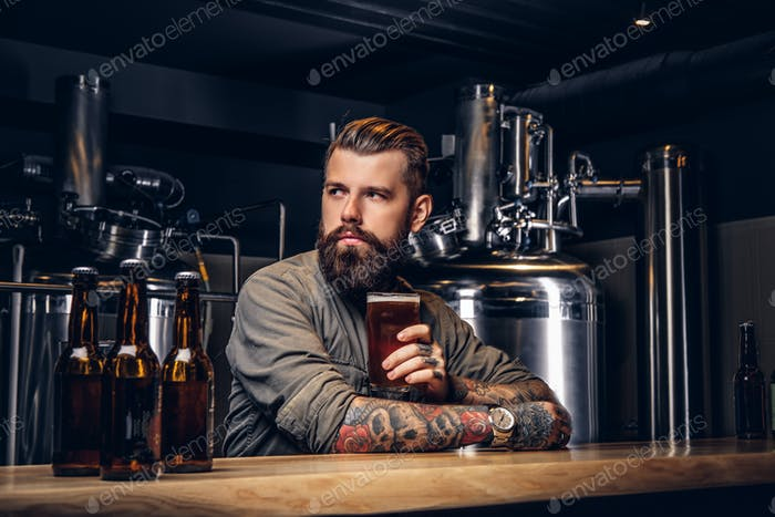Tattooed hipster male with stylish beard and hair drinking beer sitting at the bar counter