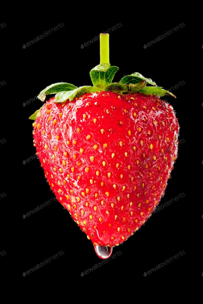 Wet ripe strawberry