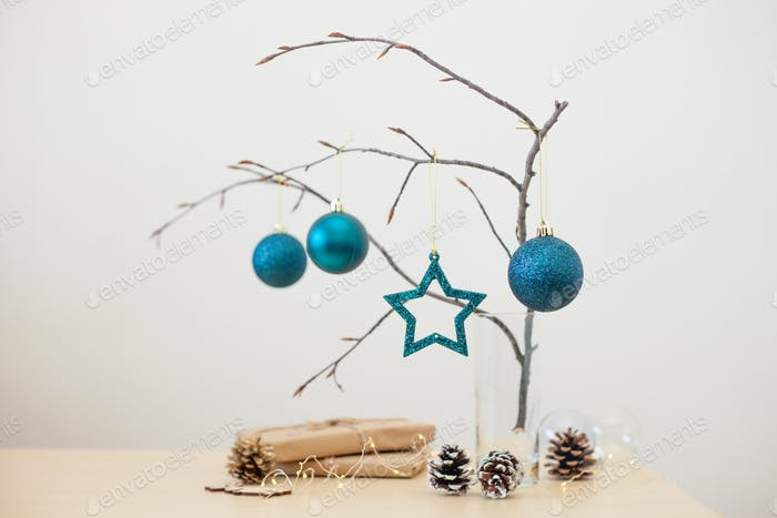 Natural Zero Waste Christmas Decoration. Alternative Christmas Tree.
