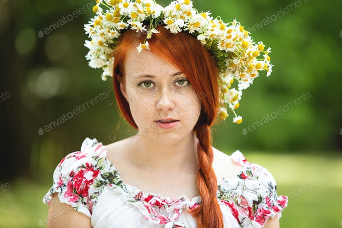 Red-haired Freckled Woman in a Wreath
