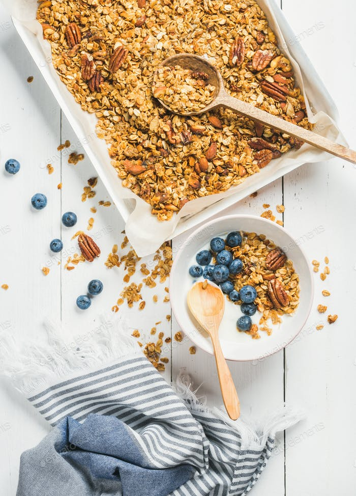 Oat granola with pecan nuts, yogurt and blueberry in bowl