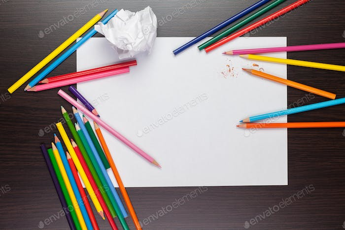 Blank Sheet Of Paper With Colorful Pencils Creative Process