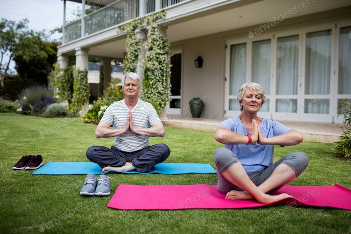 Senior couple practising yoga on exercise mat