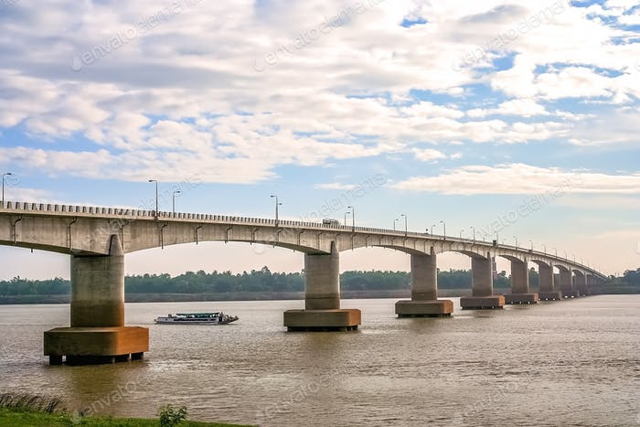 Bridge over the  Mekong river in Cambodia