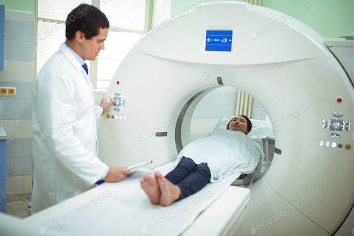 Patient undergoing CT scan test