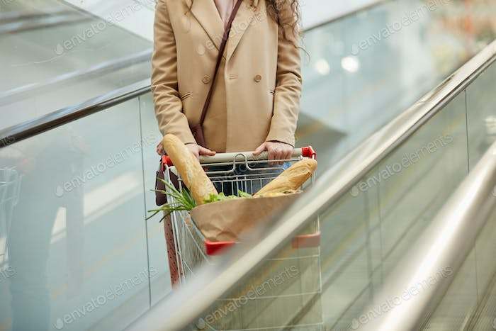 Woman with Shopping Cart on Escalator