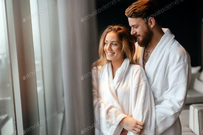 Beautiful young and happy couple enhoying wellness weekend