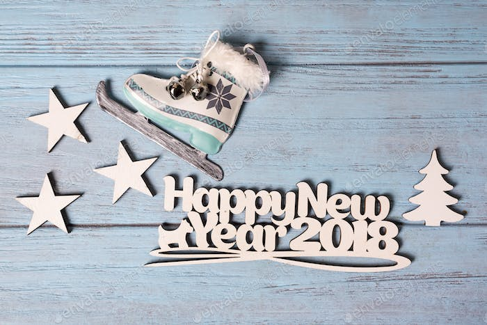 Happy 2018 New Year card with ice skates