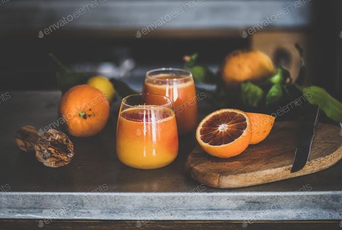 Glasses of freshly squeezed blood orange juice or smoothie