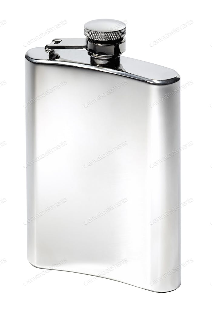 Flat metal flask on white background