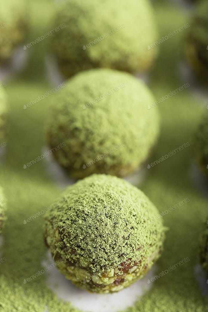 Energy balls, prepared with natural ingredients, such as nuts, matcha powder