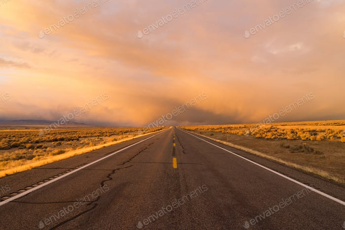 Orange Sunset Open Road Two Lane Highway Horizontal