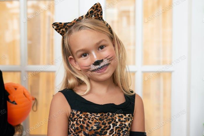 Girl In Halloween Cat Costume