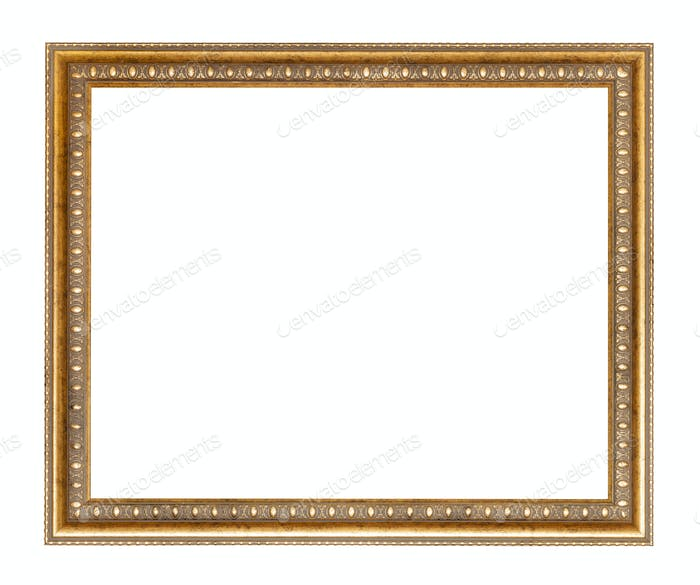 empty wide golden carved wooden picture frame