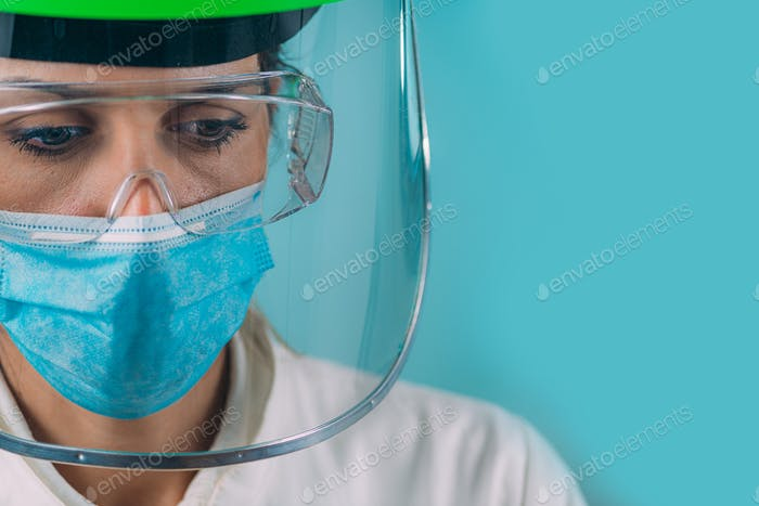 Portrait of Medical Worker in Hospital during Coronavirus Pandemic.