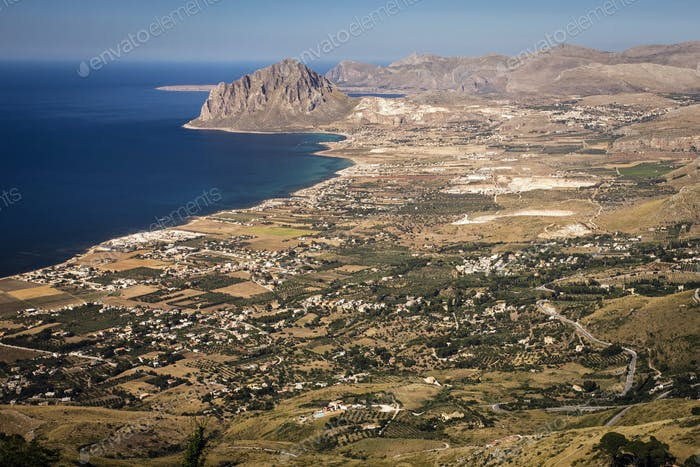Mountainous landscape and coastline on the west coast of Sicily.