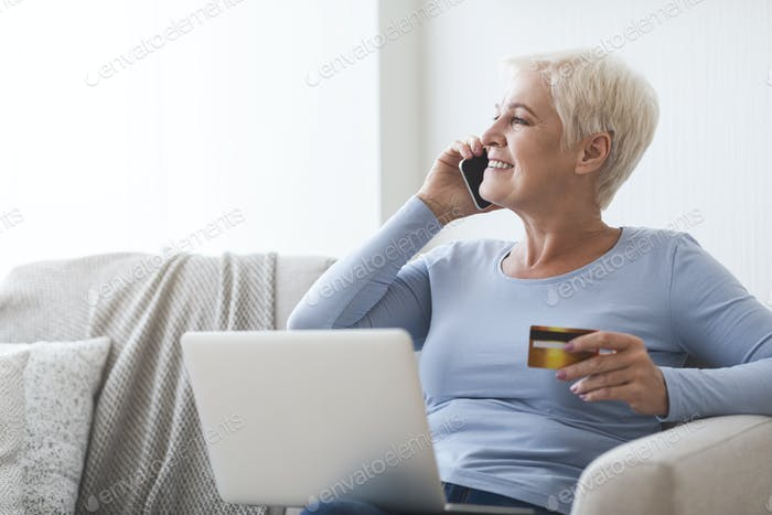 Retired woman learning how to make shopping online