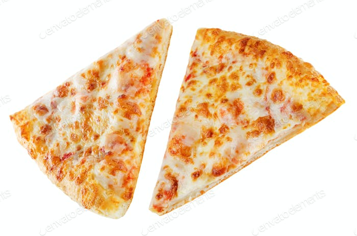 Pizza with cheese and tomato sauce isolated