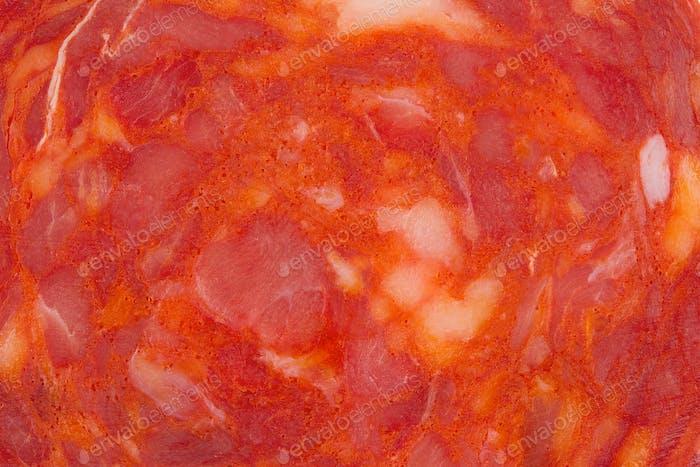 macro detail of chorizo salami sausage slice