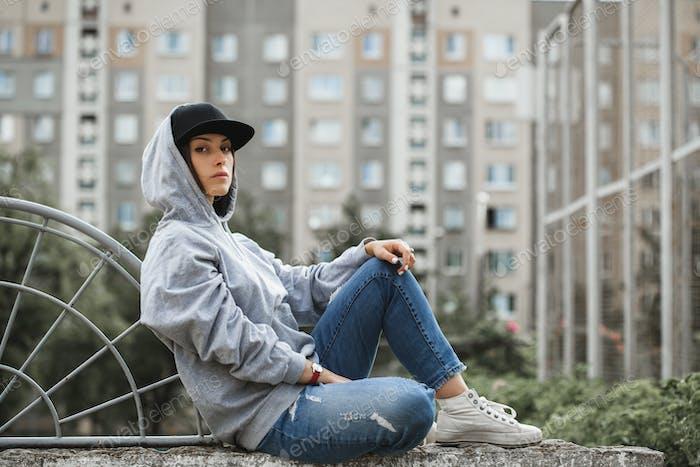 Young girl wearing hoodie