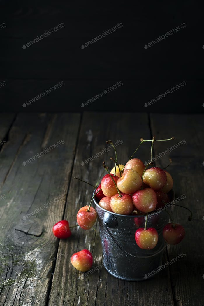Ripe cherry in a vintage bowl