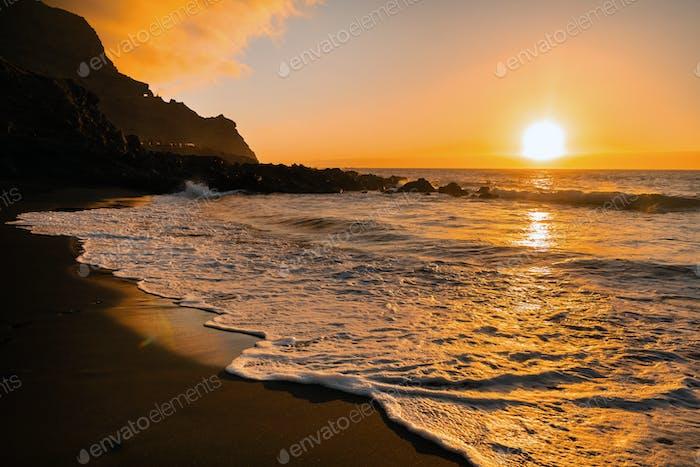 beautiful sunset in the Atlantic ocean on the island of Tenerife.Spain