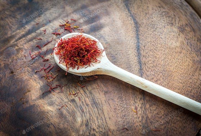 Saffron on the wooden spoon