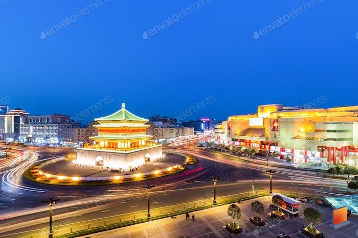 xian bell tower in nightfall